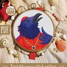 Modern cross stitch pattern. Raven cross stitch pattern. Birds cross stitch pattern.