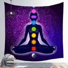 Indian Buddha Statue Meditation 7 Chakra Tapestry Wall Hanging Mandala Tapestries Wall Cloth Psychedelic Yoga Carpet Boho Decor - 9 / 95x73cm