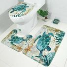 Sea Turtles 4 In 1 Waterproof Fabric Bathroom 3D Shower Curtain Set - Pattern 2 / United States