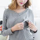 USD$23.42 Breastfeeding Cotton Tee Breast Feeding Clothes Side Slit T Shirt 2018 Maternity Long Sleeve Nursing Clothing Top M-XXL