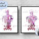 Skeleton Print Set Skull Watercolor Anatomy Decor Spine Human Muscular System Medicine Print Doctor