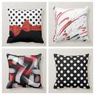 Red Ribbon Throw Pillow Case|Polka Dot Pillow Cover|Geometric Cushion Case|Decorative Abstract Boho Bedding Decor|Housewarming Porch Pillow