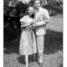 16 inch Photo. Young couple posing in park, (B&W), (Portrait)