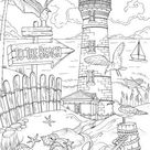 To The Beach  Printable Adult Coloring Page from Favoreads | Etsy