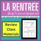 Core French Back to School  - Classroom Materials Worksheets