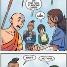 A scene from the comics where Toph's crush on Sokka is briefly shown