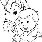 Cute little girl riding a horse vector image on VectorStock