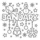 January Coloring Page • FREE Printable eBook