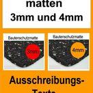 Bautenschutzmatten, Dicke 3mm und 4mm, Ausschreibungstext