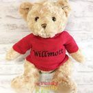 Personalised Teddy Bear 11 Inch Wearing Knitted Jumper Embroidered with a name or 3 lines of text. Great New Baby Gift Christening Gift