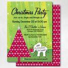 Retro White Elephant Gift Exchange Christmas Holiday Party Invitations. White Elephant holiday party invite. Unique Holiday Party Design