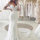 Mermaid Long Sleeves Vintage Elegant Long Wedding Dresses WD028   US6 / Picture Color