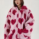 heart print fleece jacket animal fakefur bomber jacket pink   Now Millennial