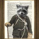 ROCKY RACCOON PRINT: Vintage Woordenboek Pagina Art - Wasbeer klimmer