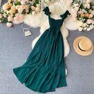 20.42US $ 26% OFF|2020 High Waist Slash Neck Women Long Dress Elegant Big Swing A line Vestidos Verano Vintage Green/Red Party Dress For Female|Dresses|   - AliExpress