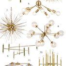 ROUND UP Gold/Brass Mid Century Modern Chandelier Lighting