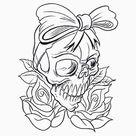 Biker Chick Voodoo Tattoo Skull Essential T-Shirt by closeddoor