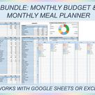 Monthly budget template, Meal planner, Budget planner, Budget spreadsheet, Financial planner, Excel