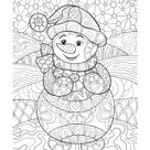Zentangle Snowman Coloring Page • FREE Printable eBook