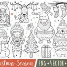 Christmas Cat Clipart Images Cute Cat Holiday Clipart | Etsy