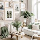 Neutral colour wall art flower posters beige living room oak frames