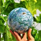 Amazing Large 130MM Green Moss Agate Stone Healing Charged Spirit Stone Power Metaphysical Sphere Ba