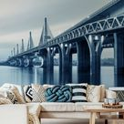 Muralo Fototapete Architektur 270 (B) x 180 (H) cm Vliestapete Wand Tapete Fluss Brücke Modern Wohnzimmer Schlafzimmer moderne Wandbild Abstraktion Wand Dekoration