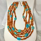 Jay King Sterling Amber & Turquoise Necklace