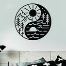 Yin Yang Adventure Wall Decal Home Decor Vinyl Sticker Art Bedroom Room Teen Baby Girls Yoga Mountains Travel   saphire blue