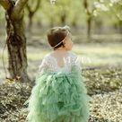 Flower Girl Dress, Sage Green Flower Girl Dress, Lace Long Sleeve Flower Girl Dress, Boho Flower Girl Dresses
