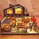 Miniature Dollhouse DIY Kit,Furniture House Lotus Pond Moonlight Architecture Handmade Entertainment Wooden Dollhouse Model Kit for Adult,Child,Home Decoration,Birthday Creative Gift,DIY Toys