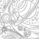 Trippy Space - Rocket and Planets coloring page | Free Printable Coloring Pages
