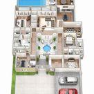 99.co   11 Denah Rumah 4 Kamar 3D Untuk Hunian Keluarga Besar