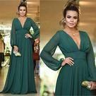 Open Back Long Sleeves Green Chiffon Cheap Bridesmaid Dresses Online, WG760