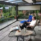 Glasdach Terrasse mit Sonnenschutz