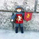 Dollhouse Castle Knight Doll (red tunic) - Dark brown hair #4