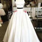 2022 Elegant Prom Dresses A Line White Two Pieces Embroidery   White / US8