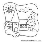 Kirche Bild - Kommunion Bilder zum Ausmalen und Ausdrucken