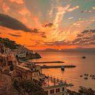 Wonderful sunset night in Amalfi