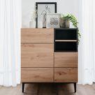 Sideboard Kommode Eiche Holz in Natur Schwarz Wohnzimmerschrank