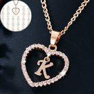 Romantic Rhinestone Initial Letter Necklace   MC323