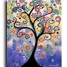 Prints, Posters, and Canvas, Tree Original Painting, Purple Art, Flowers, Nursery, Colorful Whimsical, Abstract,Contemporary,Modern, Acrylic