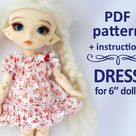 Little Doll Dresses Clothing Pattern PDF Tutorial How to make dresses for Lati Yellow Amelia Thimble Blythe