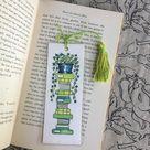 Custom Made-to-Order Handmade Watercolor Book Stack Bookmark