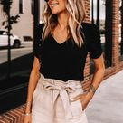 This Summer Outfit With Paperbag Shorts Looks Expensive, But Costs Just $75 | Fashion Jackson