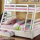 California Twin/Full Bunk Bed - White
