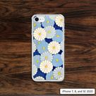 Japanese flowers iPhone case with pretty blue and yellow colors in geometric circles