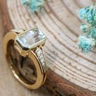 Stunning Handmade Aquamarine & Diamond Dress Ring   Hand Crafted   March Birthstone   UK Finger Size J.5   Gift For Her   One of a Kind