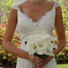 Melissa Sweet custom made wedding dress size 0 Ivory lace overlay custom made dress size 0. Worn once for a few hours, professionally cleaned and stored. Unique dress with elegant cap sleeves and plunging neckline with added lace panel for modesty. Feel like a princess on your wedding day - I did! 👰 Melissa Sweet Dresses Wedding
