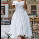 Midi Tea Length Wedding Dress Informal Wedding Dress  Satin   Etsy
